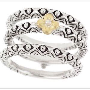 Barbara Bixby Ring 18k & Sterling set of 3 EUC